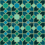 Morocco Teal Seamless Vector Pattern Design