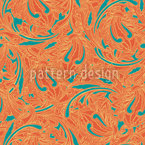 Copper Engraving Orange Seamless Vector Pattern Design