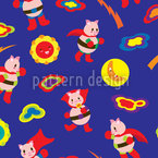 Super Piggy Saves The World Seamless Vector Pattern Design