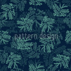 Acacia Leaves Blue Seamless Vector Pattern Design