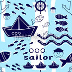 Little Sailor Seamless Vector Pattern Design