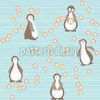 Pinguin Blüte Nahtloses Vektormuster