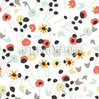 Mille Fleur White Seamless Vector Pattern Design