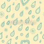 Yellow Summer Rain Seamless Vector Pattern Design