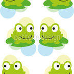 Twin Frogs Seamless Vector Pattern Design