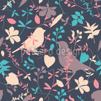 Birds Behind Floral Thicket Pattern Design