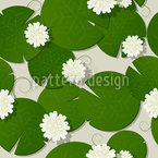 Water Lilies Seamless Vector Pattern Design