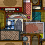 Retro Radios Seamless Pattern