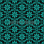All Over Turquoise Flowers Seamless Vector Pattern Design