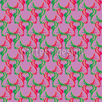 Retro Deer Green and Red Seamless Vector Pattern Design