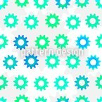 Engrenagens Verde-Azul Design de padrão vetorial sem costura