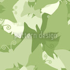 The Journey Of The Green Butterflies Seamless Vector Pattern Design