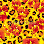 My Pansies Wild Cat Motif Vectoriel Sans Couture