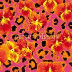 Stiefmütterchens Raubkatze In Pink Nahtloses Vektormuster