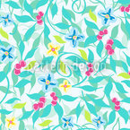 Berry Dreams En Turquesa Estampado Vectorial Sin Costura
