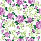 Roses In Violets Garden Seamless Vector Pattern Design