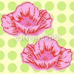 Poppies Like It Dotty Green Estampado Vectorial Sin Costura