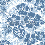 Hawaiian Hibiscus Blue Seamless Vector Pattern Design