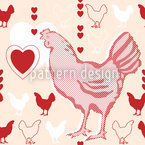 Hühner Mit Herz Nahtloses Vektormuster