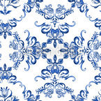Tulip Delftware Seamless Vector Pattern Design