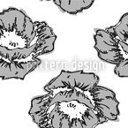 Poppy Art BW Seamless Vector Pattern Design