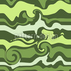 Green Wave Chaos Seamless Vector Pattern Design