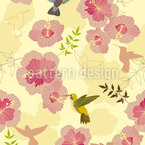 Hummingbirds Taste Hibiscus Pattern Design