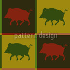 Wild Boar Territory Seamless Vector Pattern Design