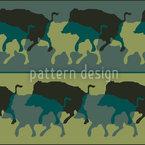 Javali Em Verde Design de padrão vetorial sem costura