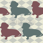 Dachshund Check Mate Estampado Vectorial Sin Costura