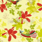 Isle Of The Paradise Birds Seamless Vector Pattern Design