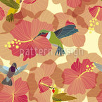 Hummingbird Marriage On Hibiscus Seamless Vector Pattern Design