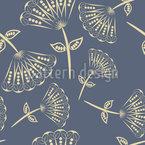 Fächerblumen Auf Blaupause Muster Design