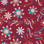 Flowers Dance Red Design Pattern
