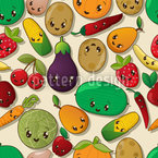 Kawaii Veggies Pattern Design
