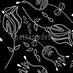 Bella Flora Nero Nahtloses Vektor Muster