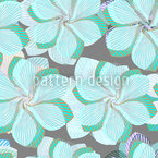 Zarte Faltblumen Blau Nahtloses Vektormuster