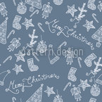 Merry Christmas To Blue Seamless Vector Pattern Design