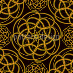 Golden Wheels Seamless Vector Pattern Design