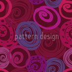 Roses In Circles Seamless Vector Pattern Design
