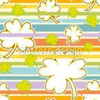Lucky Clover On Stripes Seamless Vector Pattern