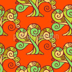 Snail Forest At Sunset Pattern Design