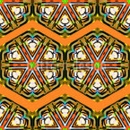 Kaleidoscope Zig Zag Brown Seamless Vector Pattern Design