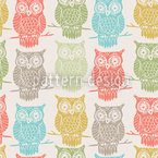 Colored Owls Look Out Seamless Vector Pattern Design