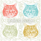 Kitty Minka Loves Wool Seamless Vector Pattern Design