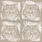 Kitty Minka Brown Seamless Vector Pattern Design
