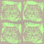 Kitty Minka Green Seamless Vector Pattern Design