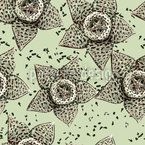 Stapelia Flower Seamless Vector Pattern Design