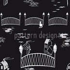 Kätzchenbrücke Bei Nacht Nahtloses Vektormuster