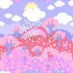 Rainbow Wonderland Pink Seamless Vector Pattern Design
